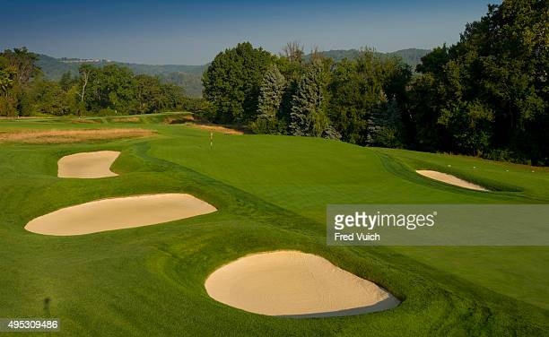 A general view of the par 3 16th hole at 2016 US Open site Oakmont Country Club on September 8 2015 in Oakmont Pennsylvania