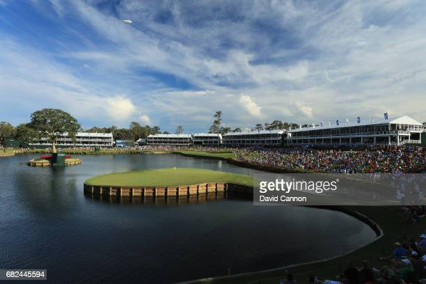 A general view of the par 3 17th hole during the second round of THE PLAYERS Championship on the Stadium Course at TPC Sawgrass on May 12 2017 in...