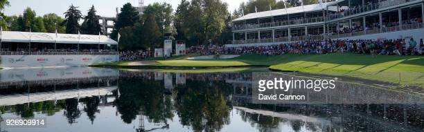 A general view of the par 3 17th hole during the third round of the World Golf ChampionshipsMexico Championship at the Club de Golf Chapultepec on...