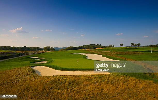A general view of the par 3 Eighth hole at 2016 US Open site Oakmont Country Club on September 2 2015 in Oakmont Pennsylvania