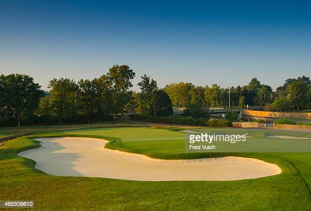 A general view of the par 3 Eighth hole at 2016 US Open site Oakmont Country Club on September 8 2015 in Oakmont Pennsylvania
