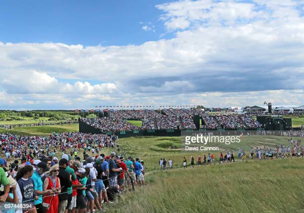 A general view of the par 3 ninth hole during the final round of the 117th US Open Championship at Erin Hills on June 18 2017 in Hartford Wisconsin