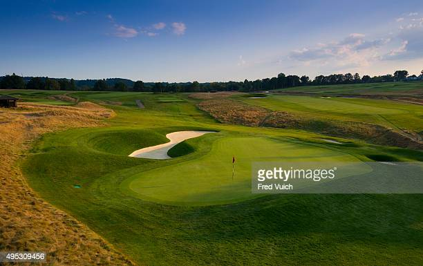 A general view of the par 3 Sixth hole at 2016 US Open site Oakmont Country Club on September 8 2015 in Oakmont Pennsylvania