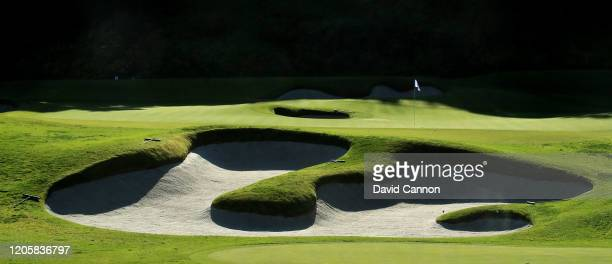 General view of the par 3, sixth hole during the pro-am for the Genesis Invitational at the Riviera Country Club on February 12, 2020 in Pacific...
