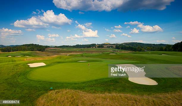 A general view of the par 4 11th hole at 2016 US Open site Oakmont Country Club on September 8 2015 in Oakmont Pennsylvania