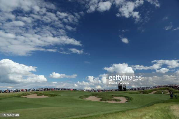 A general view of the par 4 11th hole during the final round of the 117th US Open Championship at Erin Hills on June 18 2017 in Hartford Wisconsin