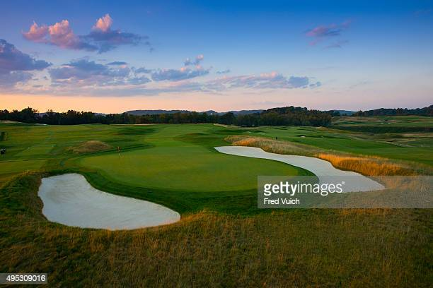 A general view of the par 4 14th hole at 2016 US Open site Oakmont Country Club on July 23 2015 in Oakmont Pennsylvania