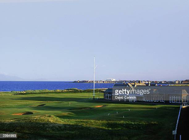 General view of the par 4, 18th green with clubhouse in the background taken during a photoshoot held on July 26, 2003 at the Royal Troon Golf Club,...