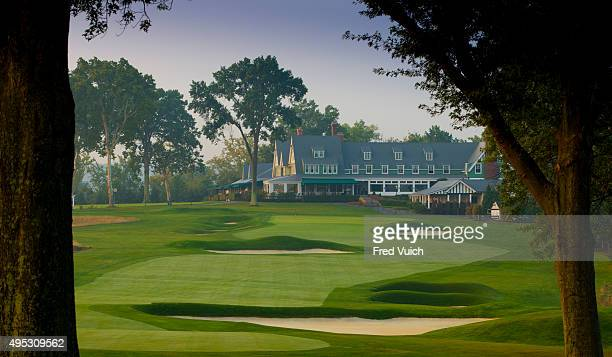 A general view of the par 4 18th hole at 2016 US Open site Oakmont Country Club on September 3 2015 in Oakmont Pennsylvania