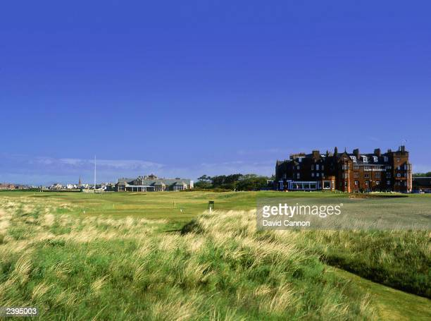General view of the par 4, 18th hole with the 17th green in view taken during a photoshoot held on July 26, 2003 at the Royal Troon Golf Club, venue...