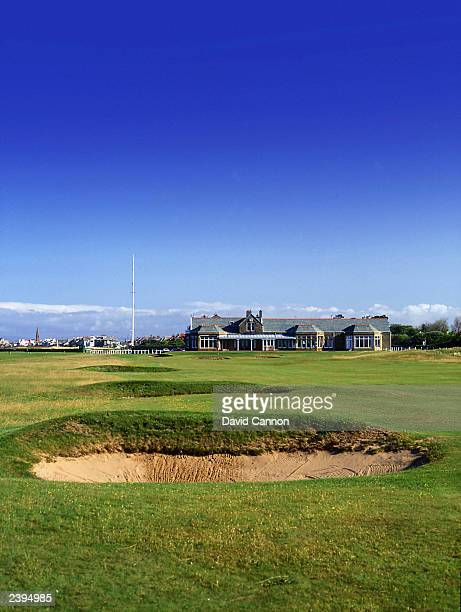 General view of the par 4 18th hole with the clubhouse in the background taken during a photoshoot held on July 26 2003 at the Royal Troon Golf Club...