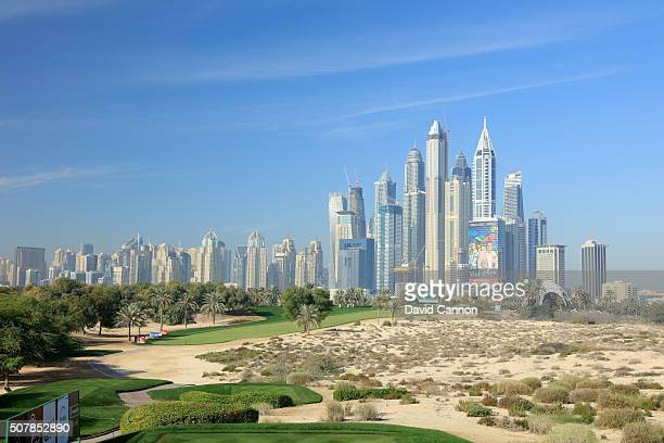 A general view of the par 4 eighth hole as a preview for the 2016 Omega Dubai Desert Classic on the Majlis Course at the Emirates Golf Club on...