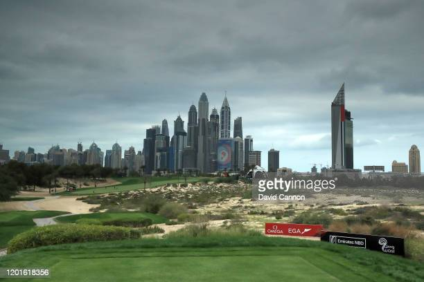 A general view of the par 4 eighth hole during the second round of the Omega Dubai Desert Classic on the Majlis Course at The Emirates Golf Club on...