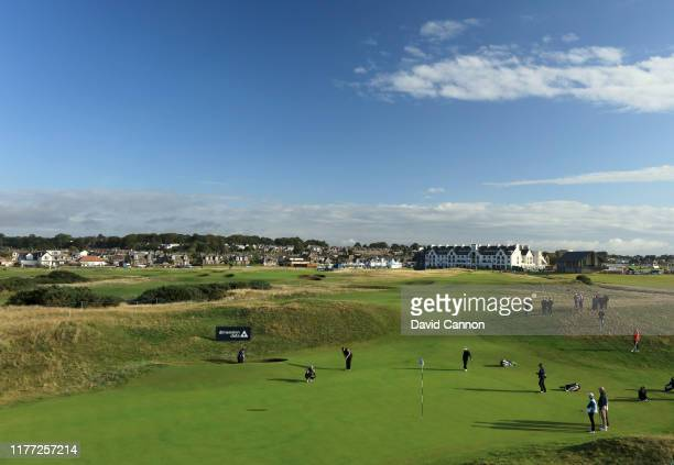 A general view of the par 4 first green during the first round of the Alfred Dunhill Links Championship at Carnoustie on September 26 2019 in St...