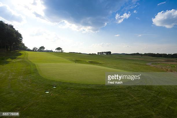 A general view of the par 4 First hole at 2016 US Open site Oakmont Country Club on September 8 2015 in Oakmont Pennsylvania