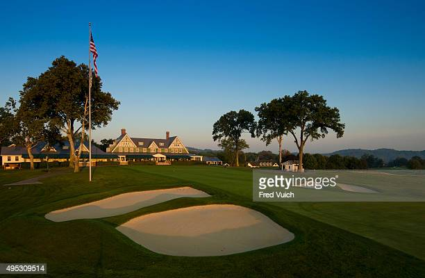 A general view of the par 4 Ninth hole at 2016 US Open site Oakmont Country Club on September 8 2015 in Oakmont Pennsylvania