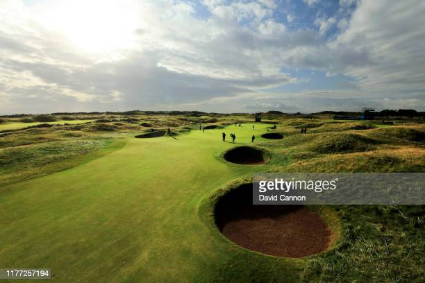 General view of the par 4, second green during the first round of the Alfred Dunhill Links Championship at Carnoustie on September 26, 2019 in St...