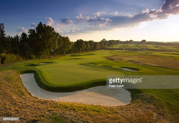 A general view of the par 4 Second hole at 2016 US Open site Oakmont Country Club on September 8 2015 in Oakmont Pennsylvania
