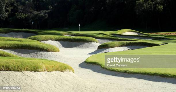 General view of the par 4, seventh hole during the pro-am for the Genesis Invitational at the Riviera Country Club on February 12, 2020 in Pacific...