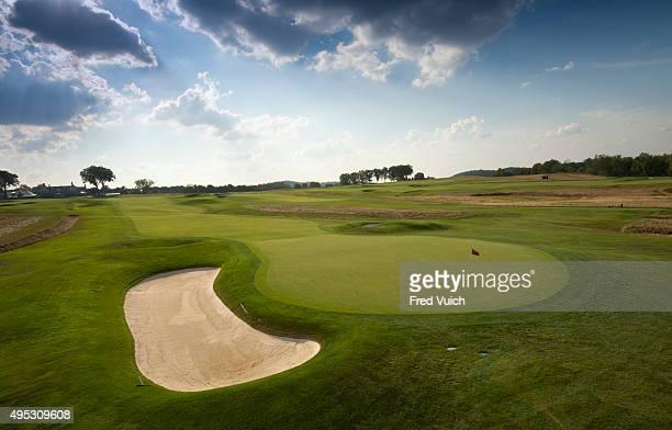A general view of the par 4 Tenth hole at 2016 US Open site Oakmont Country Club on September 8 2015 in Oakmont Pennsylvania