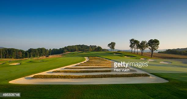 A general view of the par 4 Third hole at 2016 US Open site Oakmont Country Club on September 8 2015 in Oakmont Pennsylvania