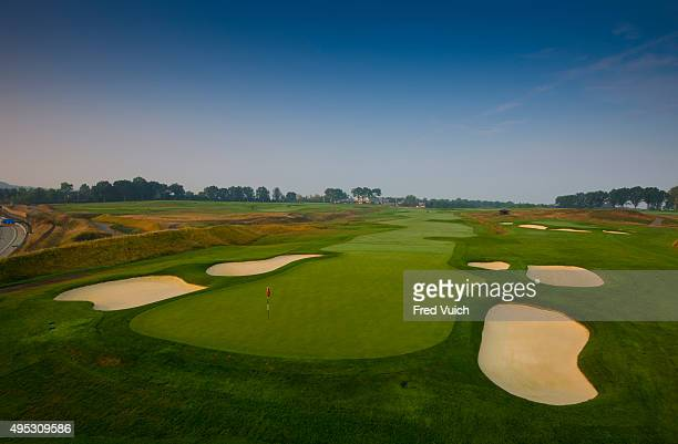 A general view of the par 5 12th hole at 2016 US Open site Oakmont Country Club on September 3 2015 in Oakmont Pennsylvania