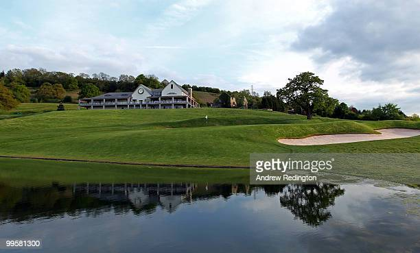 A general view of the par 5 18th hole on the Twenty Ten Ryder Cup Course at The Celtic Manor Resort on May 14 2010 in Newport Wales