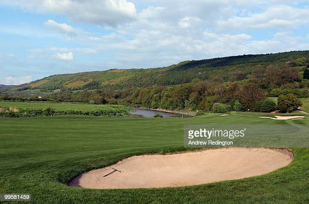 A general view of the par 5 ninth hole on the Twenty Ten Ryder Cup Course at The Celtic Manor Resort on May 14 2010 in Newport Wales