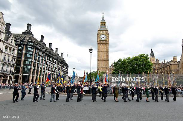 A general view of the parade during the 70th Anniversary commemorations of VJ Day at Parliament Square on August 15 2015 in London England The event...