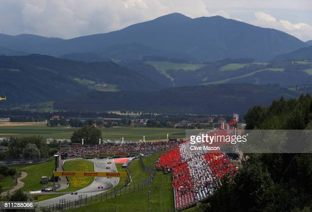 A general view of the parade lap during the Formula One Grand Prix of Austria at Red Bull Ring on July 9 2017 in Spielberg Austria