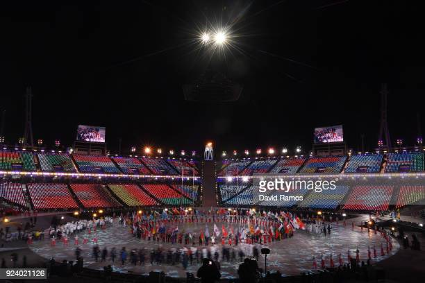 General view of the Parade of Athletes during the Closing Ceremony of the PyeongChang 2018 Winter Olympic Games at PyeongChang Olympic Stadium on...