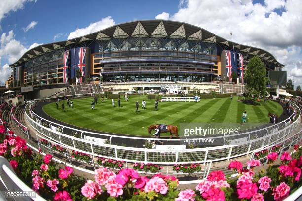 General view of the parade ring ahead of the Coronation Stakes during Day Five of Royal Ascot 2020 at Ascot Racecourse on June 20, 2020 in Ascot,...