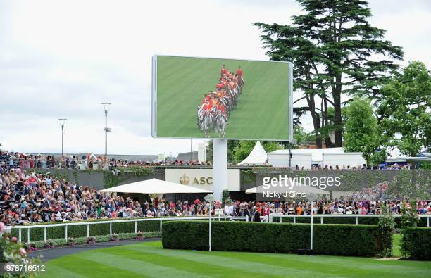 A general view of the parade ring as The Royal carriage arrives on day 1 of Royal Ascot at Ascot Racecourse on June 19 2018 in Ascot England