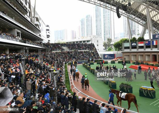 General view of the parade ring during the LONGINES Hong Kong International Races at Sha Tin Racecourse on December 09 2018 in Hong Kong