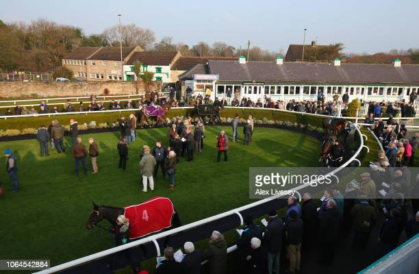 A general view of the parade ring is seen ahead of the Jump Season Starts Now Novices' Hurdle Race at Catterick Racecourse on November 23 2018 in...