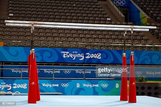 A general view of the parallel bars at the National Indoor Stadium during a preview for the Beijing 2008 Olympic Games on August 2 2008 in Beijing...