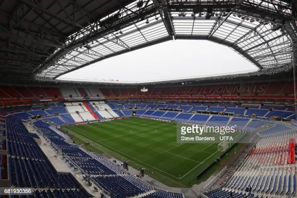 General view of the Parc Olympique prior to the Uefa Europa League semi final second leg match between Olympique Lyonnais Lyon and Ajax Amsterdam at...