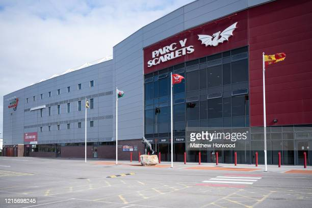 General view of the Parc y Scarlets stadium as workers fit out the indoor training centre at Parc y Scarlets as a field hospital on March 30 in...