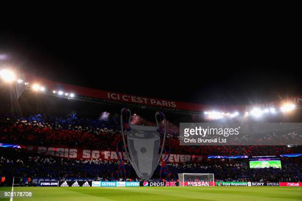 General view of the Paris Saint-Germain fans before the UEFA Champions League Round of 16 Second Leg match between Paris Saint-Germain and Real...
