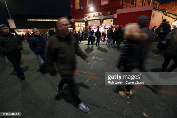 A general view of The Park pub as fans arrive ahead of the UEFA Champions League round of 16 second leg match between Liverpool FC and Atletico...