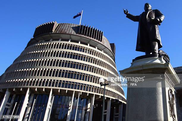 A general view of the parliament building and the statue of Richard John Seddon ahead of the FIFA U20 World Cup New Zealand 2015 on May 29 2015 in...