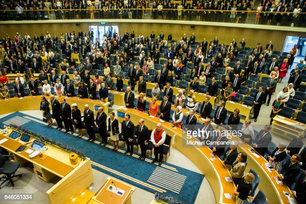 General view of the parliament during the opening of the Parliamentary session on September 12, 2017 in Stockholm, Sweden.