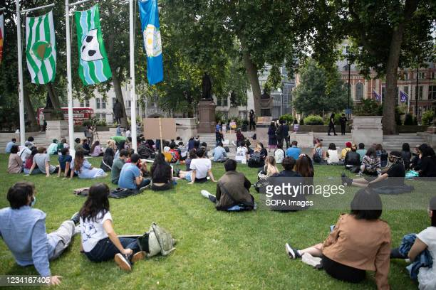 General view of the Parliament Square during the Stop Asian Hate rally in London. Demonstrators held a protest against the increasing anti-Asian hate...