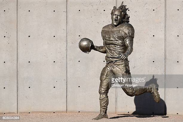 General view of the Pat Tillman statue before the NFL game between the Arizona Cardinals and New England Patriots at the University of Phoenix...