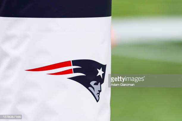 A general view of the Patriots logo before a game between the New England Patriots and the Las Vegas Raiders at Gillette Stadium on September 27 2020...