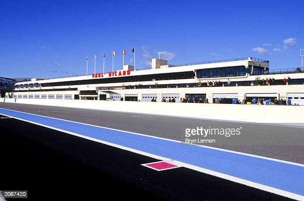 General view of the Paul Ricard Circuit pit lane and grandstand taken during the Renault Launch held on January 23 2003 at the Paul Ricard Circuit in...
