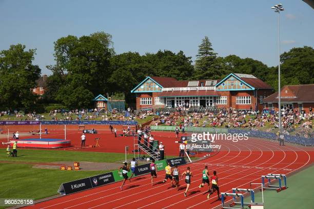 General view of the Paula Radcliffe Athletics Stadium is seen during the Loughborough International Athletics event on May 20, 2018 in Loughborough,...