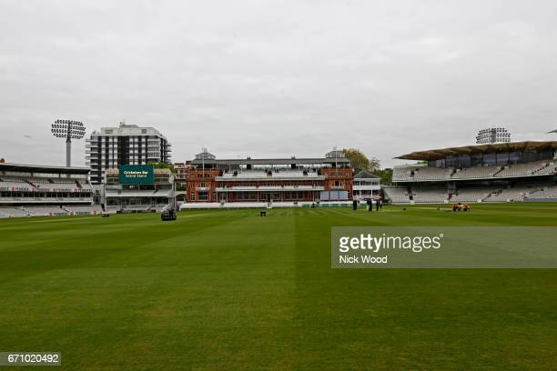 General view of the pavillion and pitch prior to the start of play at Lords Cricket Ground on April 21 2017 in London England