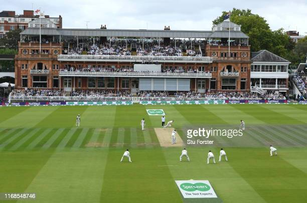 General view of the pavillion at Lords as Stuart Broad bowls to Steve Smith during day four of the 2nd Test Match between England and Australia at...