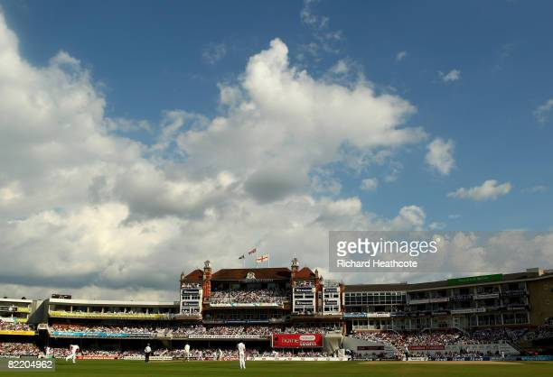 A general view of the Pavillion end during the first day of the 4th npower Test Match between England and South Africa at The Brit Oval on August 7...